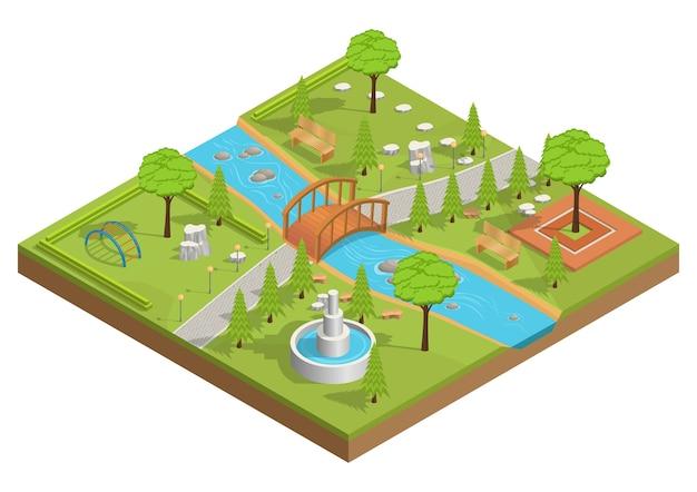 Ilustração isométrica do parque com rio e ponte de madeira. Vetor Premium