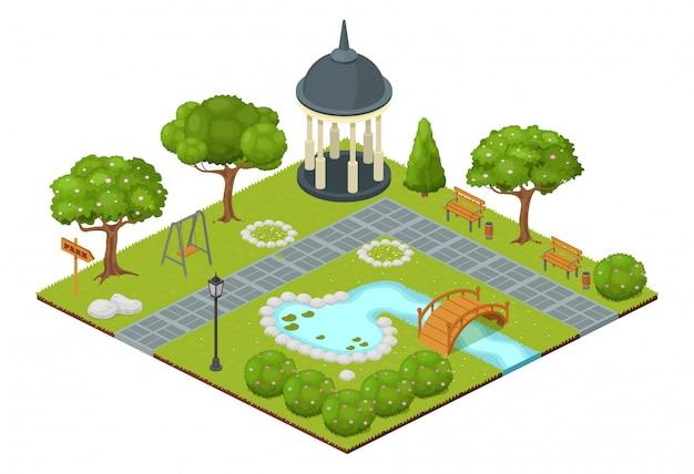 Ilustração isométrica do parque. desenhos animados 3d cidade natureza mapa paisagem isolada no branco, verde árvore e grama do jardim, piscina ao ar livre fonte com pequena ponte, gazebo do parque e bancos Vetor Premium