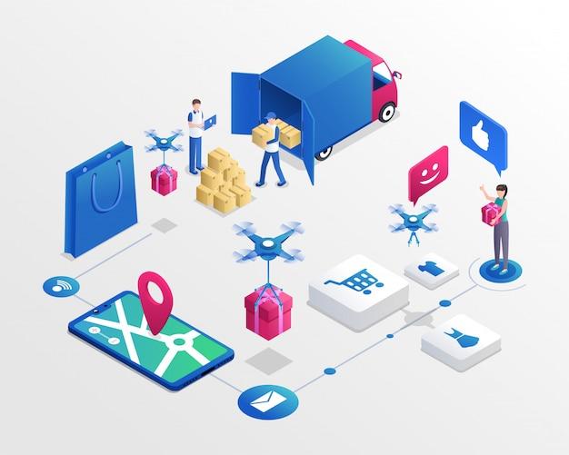 Ilustração isométrica do sistema de compras online. trabalhadores do serviço de entrega e cliente feliz Vetor Premium