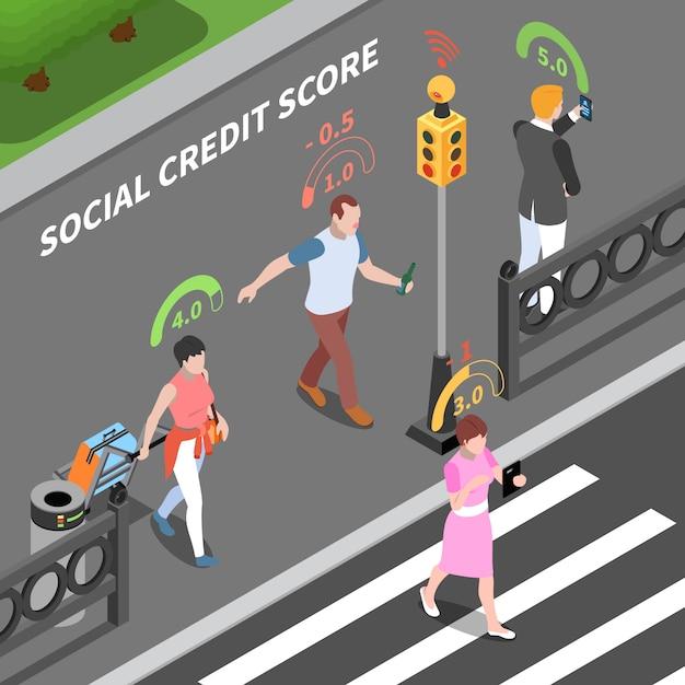 Ilustração isométrica do sistema de pontuação de crédito social Vetor grátis
