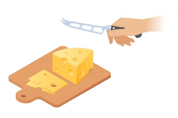 Ilustração isométrica do vetor liso da placa de corte, parte da cabeça do queijo, mão com faca de cozinha. Vetor Premium