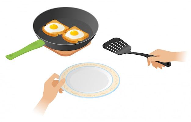 Ilustração isométrica do vetor plana de frigideira com ovos mexidos sobre os brindes, mãos com espátula e placa de cozinha. Vetor Premium
