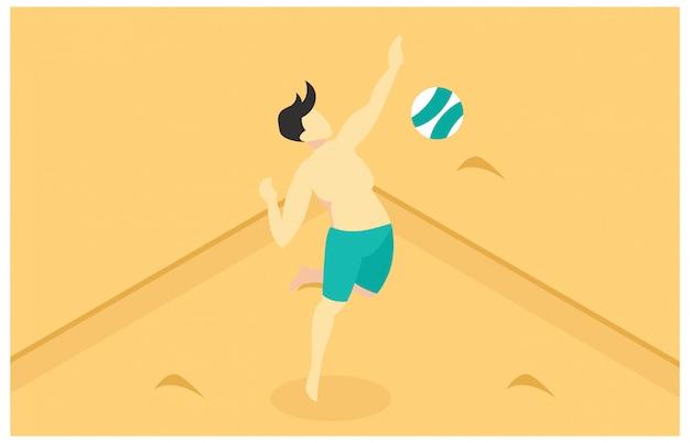 Ilustração isométrica jogando vôlei de praia Vetor Premium