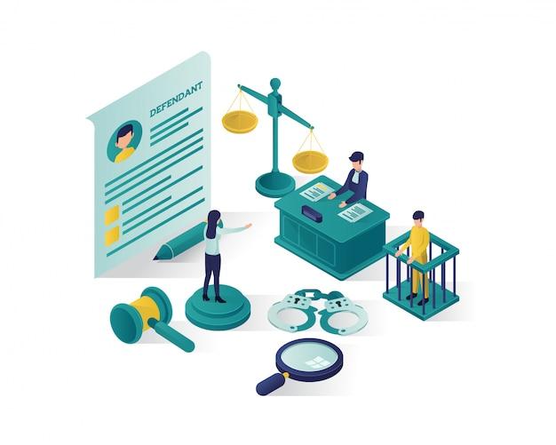 Ilustração isométrica justiça e lei, ilustração isométrica de escritório de advocacia. Vetor Premium