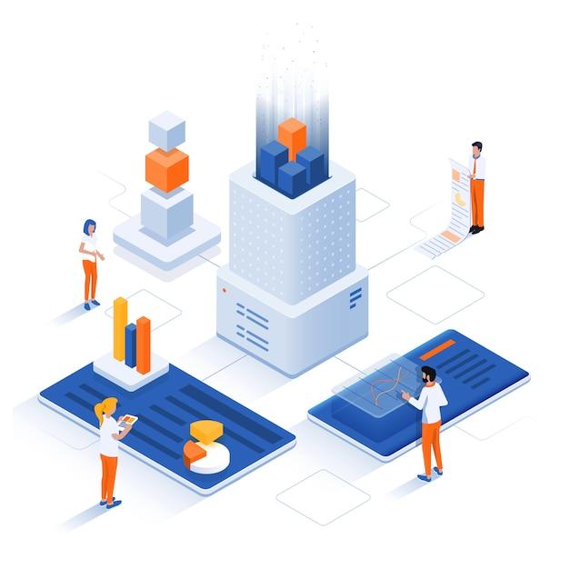 Ilustração isométrica moderna - conceito de análise de dados Vetor Premium