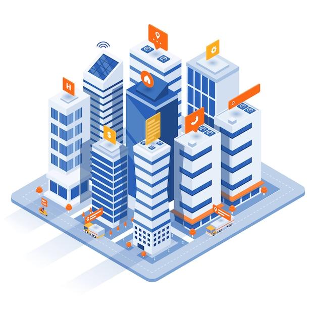 Ilustração isométrica moderna - conceito de cidade inteligente Vetor Premium