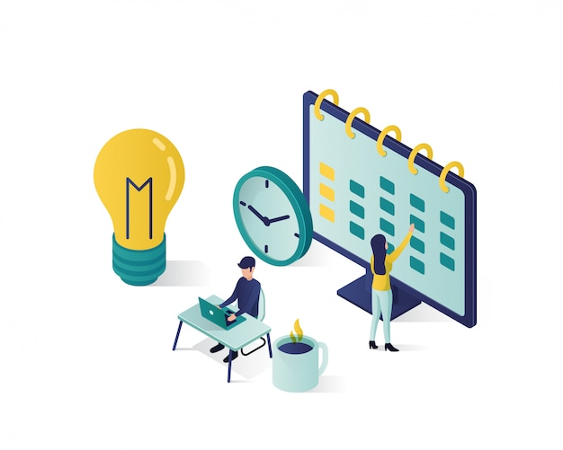Ilustração isométrica. personagens de pessoas isométricas fazem um cronograma no calendário. Vetor Premium