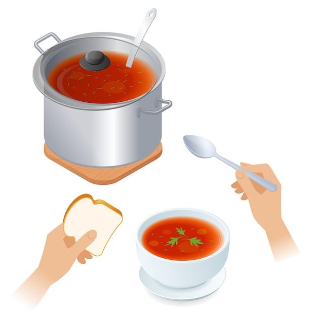 Ilustração isométrica plana de panela com sopa de tomate, tigela, colher. Vetor Premium