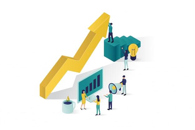 Ilustração isométrica, um grupo de personagens de pessoas está preparando um projeto de negócios start up. ascensão da carreira para o sucesso, negócios isométricos, análise de negócios Vetor Premium