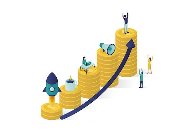 Ilustração isométrica, um grupo de personagens de pessoas está preparando um projeto de negócios start up. ascensão da carreira para o sucesso Vetor Premium