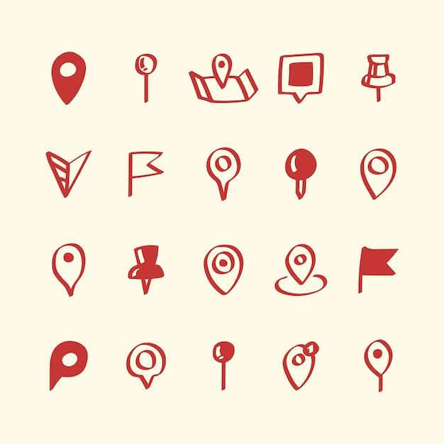 Ilustração, jogo, de, mapa, alfinete, ícones Vetor grátis