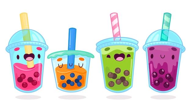 Ilustração kawaii bubble tea Vetor Premium