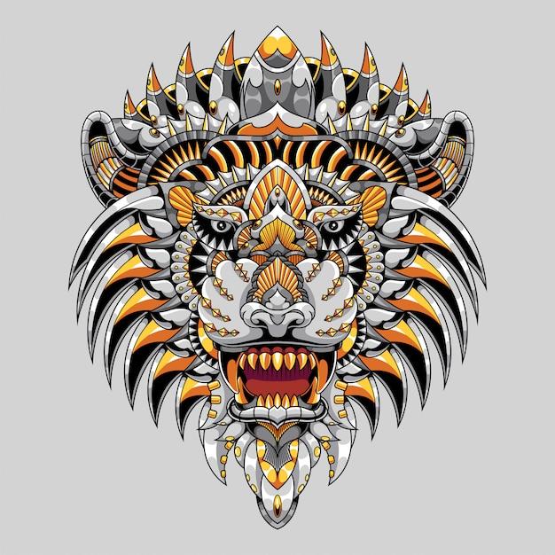 Ilustração leão colorido mandala zentangle Vetor Premium