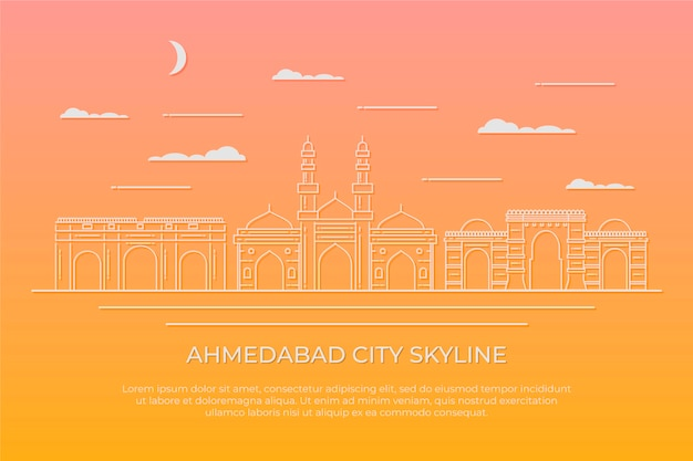 Ilustração linear do horizonte de ahmedabad Vetor grátis