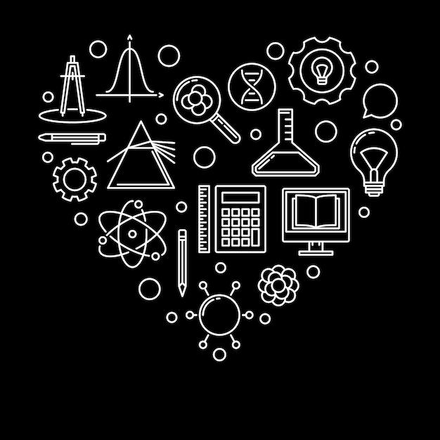 Ilustração linear do vetor de escola coração. eu amo a bandeira da escola Vetor Premium