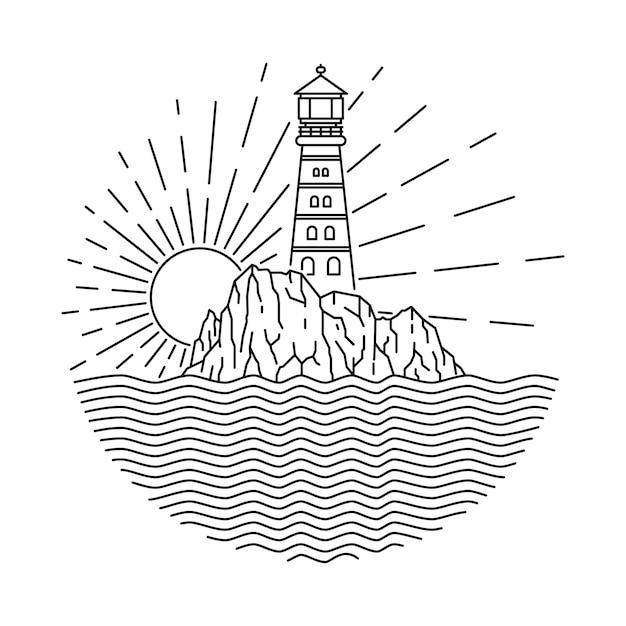 Ilustração linha mar farol Vetor Premium