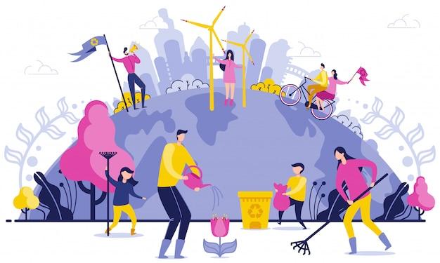 Ilustração lisa da eliminação larga do lixo do planeta. Vetor Premium