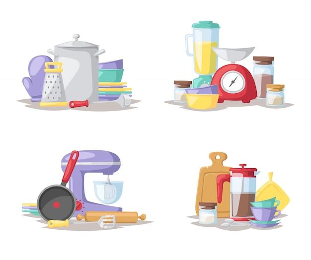 Ilustração lisa do grupo de ferramentas do cozinheiro da cozinha. Vetor Premium