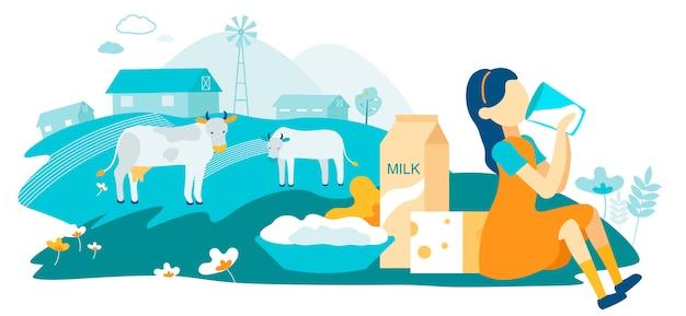 Ilustração lisa do vetor da exploração agrícola da família da vaca de leiteria. Vetor Premium