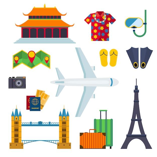 Ilustração lisa do vetor das férias dos ícones do curso do aeroporto. Vetor Premium