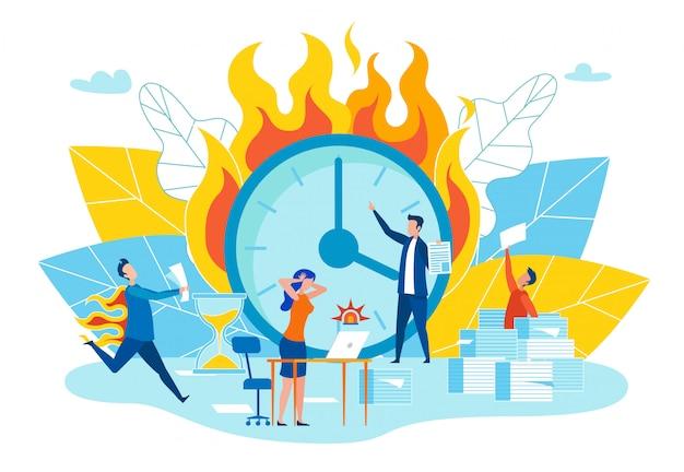 Ilustração lisa do vetor dos fins do prazo do disruption. Vetor Premium