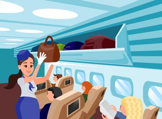 Ilustração lisa dos assistentes especiais dos aviões. Vetor Premium
