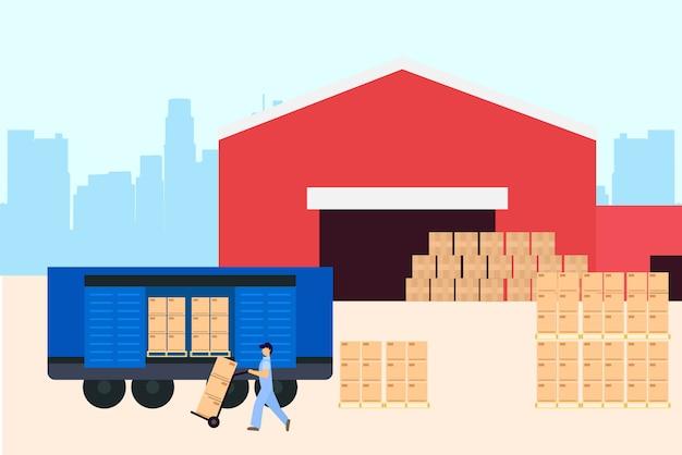 Ilustração logística de armazém Vetor Premium