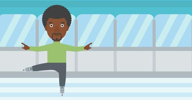 Ilustração masculina do vetor do patinador artística. Vetor Premium
