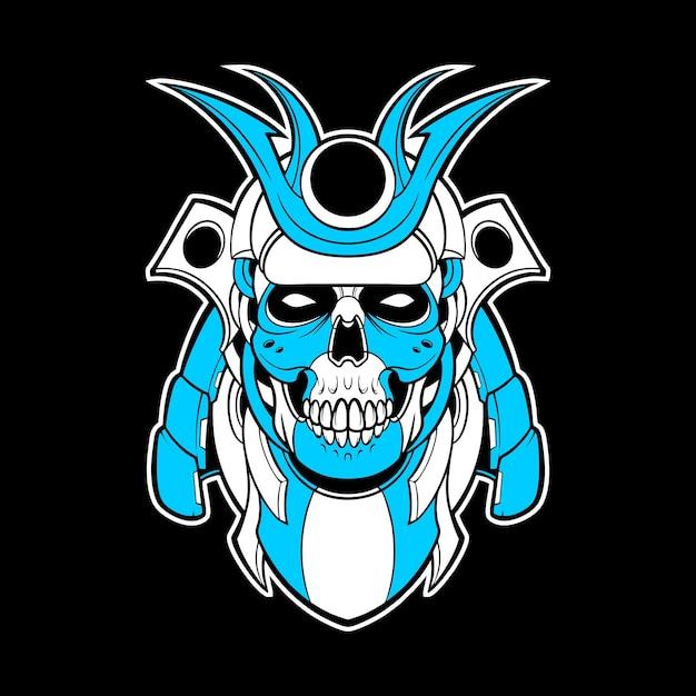Ilustração mecha do crânio de samurai Vetor Premium