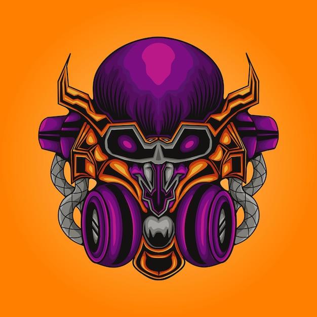 Ilustração mecha robotic skull Vetor Premium