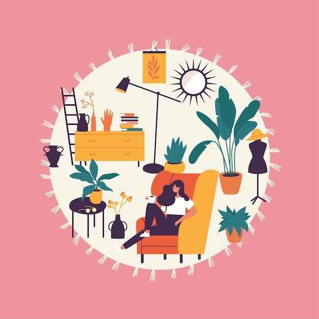 Ilustração menina sentada e descansando na poltrona com uma xícara de café. Vetor Premium