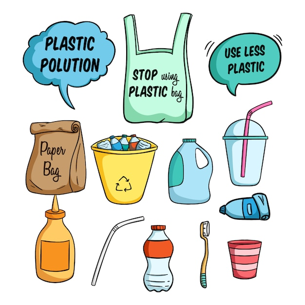 Ilustração menos plástica para ir verde e usando o estilo colorido doodle Vetor Premium