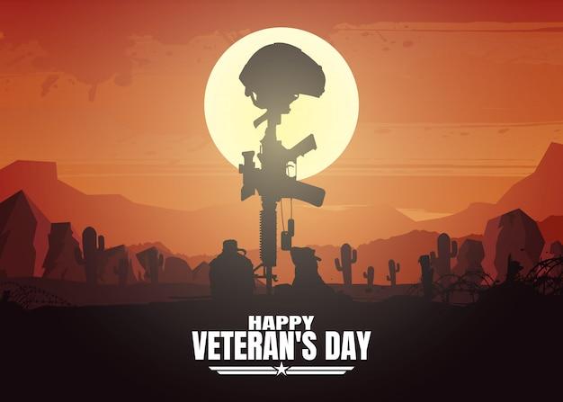 Ilustração militar, fundo do exército, silhuetas de soldados, feliz dia dos veteranos. Vetor Premium