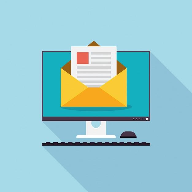Ilustração moderna da tecnologia de marketing por e-mail Vetor grátis