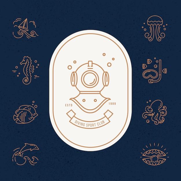 Ilustração moderna da vida submarina. Vetor Premium