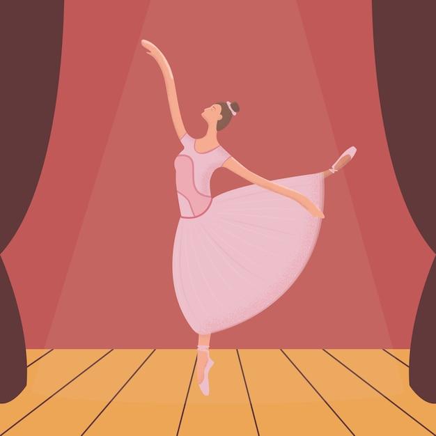 Ilustração moderna de bailarina Vetor Premium
