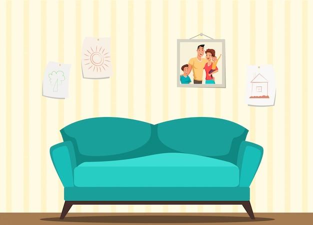 Ilustração moderna do interior da sala de estar, sofá aconchegante azul, desenhos infantis em molduras penduradas na parede, papel de parede listrado bege Vetor Premium