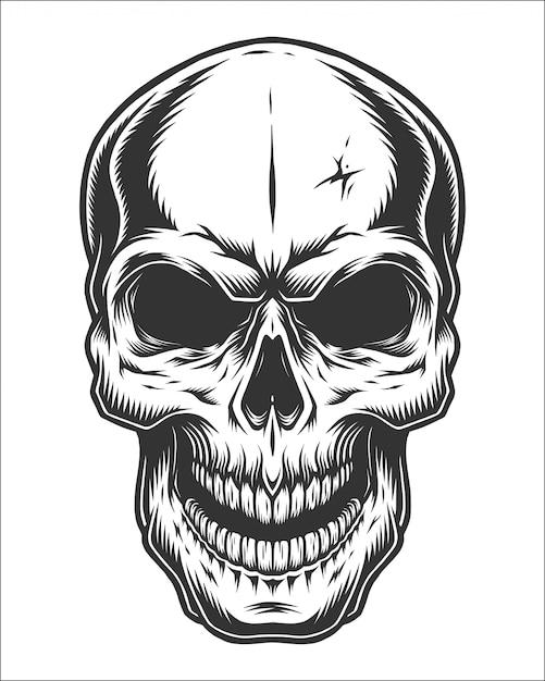 Ilustração monocromática de caveira Vetor Premium