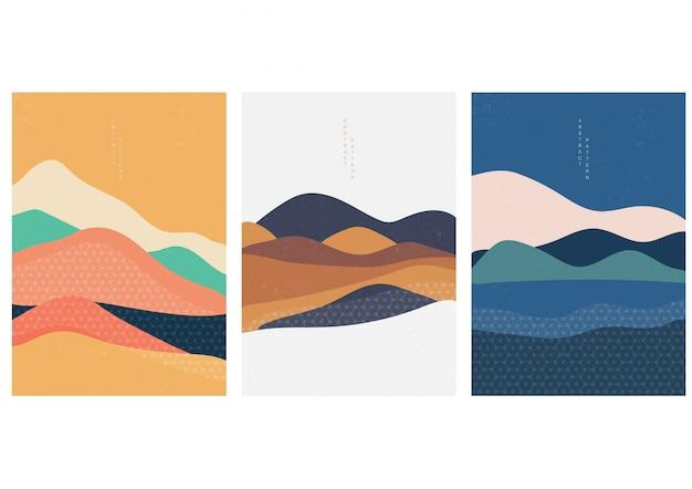 Ilustração natural da paisagem com vetor do estilo japonês. geométrico no tradicional do japão. montanha em design asiático. artes abstratas. Vetor Premium