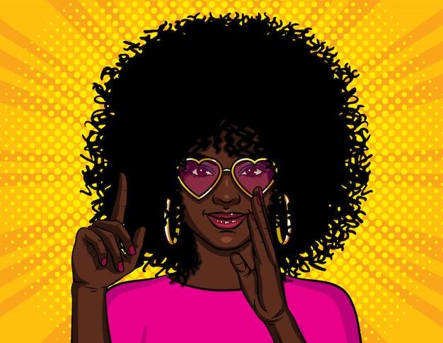 Ilustração no estilo pop art, garota afro-americana aparece polegar Vetor Premium