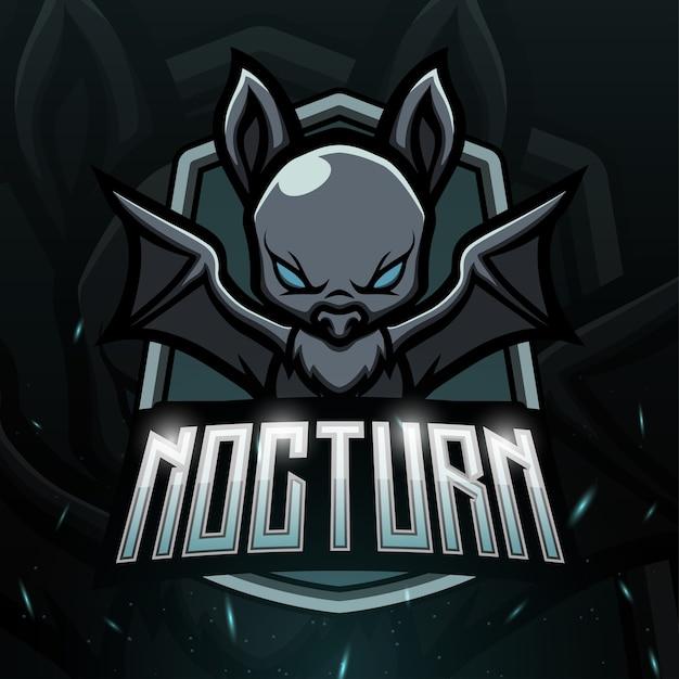 Ilustração noturna do mascote do morcego Vetor Premium
