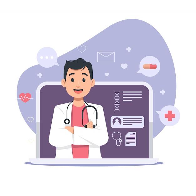 Ilustração online médico Vetor Premium