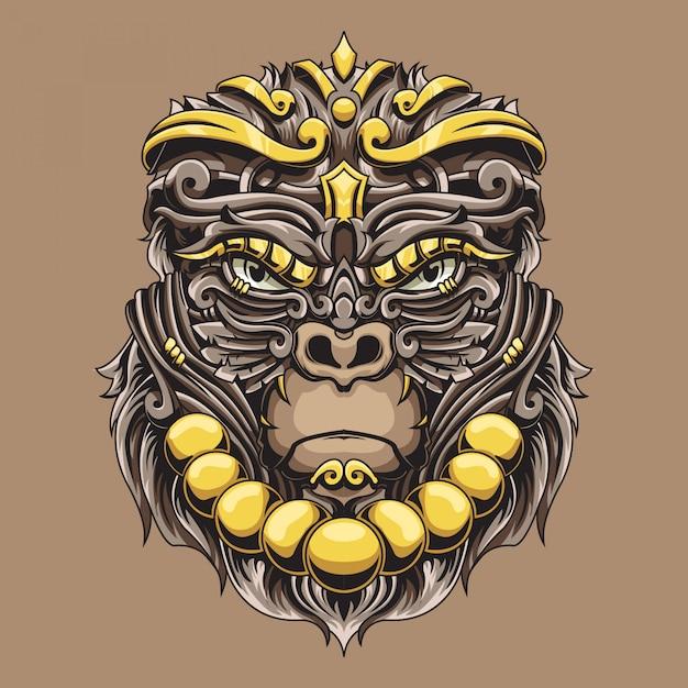Ilustração ornamental de gorila Vetor Premium