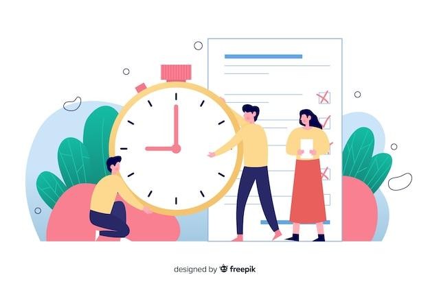 Ilustração para a página de destino com o conceito de gerenciamento de tempo Vetor grátis