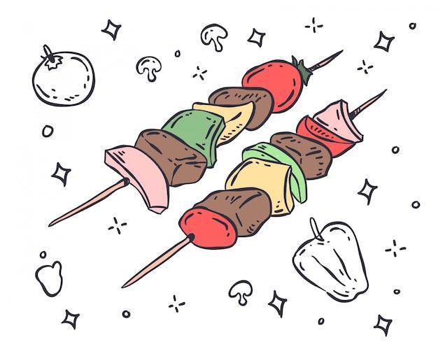 Ilustração para churrasco Vetor Premium