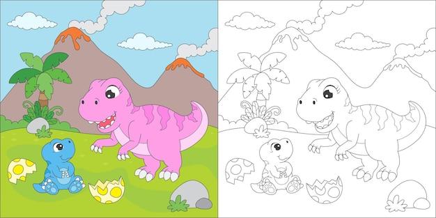 Ilustração para colorir tiranossauro rex Vetor Premium