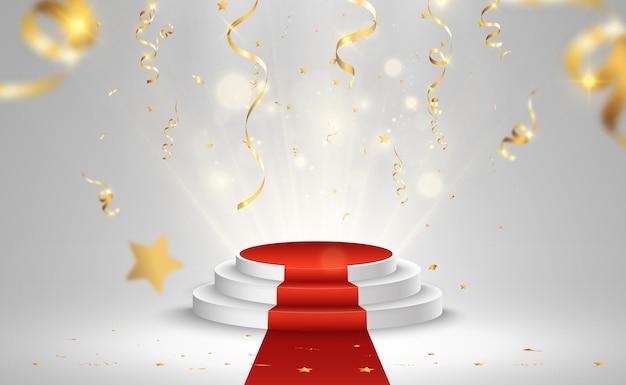 Ilustração para vencedores do prêmio. pedestal ou plataforma para homenagear os vencedores dos prêmios. Vetor Premium