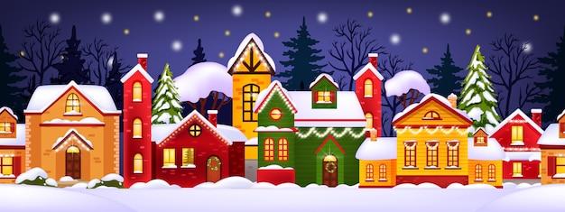 Ilustração perfeita de inverno de natal com casas decoradas, neve, cidade e silhueta de árvores Vetor Premium