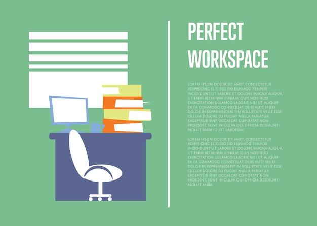 Ilustração perfeita do espaço de trabalho com o modelo de texto. interior do escritório Vetor Premium