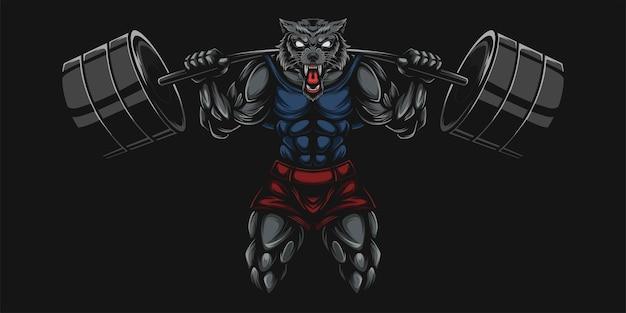 Ilustração pesada de lobo e haltere Vetor Premium